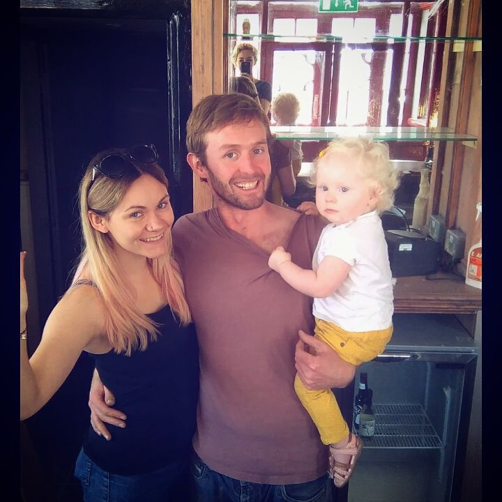 Aidan, with girlfriend Lyndsey and daughter Noa on moving in day