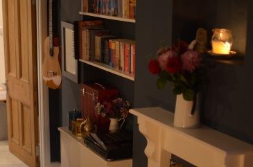 9. Lounge fireplace & bookshelf details